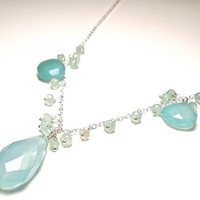 Seafoam Chalcedony and Chrysoprase Necklace by OddsAndEndsByKaley