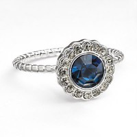 LC Lauren Conrad Silver Tone Simulated Crystal Halo Ring