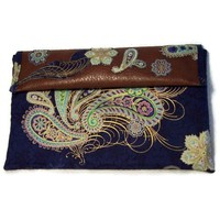 Clutch Purse Brown Faux Leather Blue Paisley Print Cotton Handbag