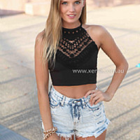 ADORE YOU TOP , DRESSES, TOPS, BOTTOMS, JACKETS & JUMPERS, ACCESSORIES, 50% OFF SALE, PRE ORDER, NEW ARRIVALS, PLAYSUIT, COLOUR, GIFT VOUCHER,,LACE,CUT OUT,CROP,SLEEVELESS,Black,MINI Australia, Queensland, Brisbane
