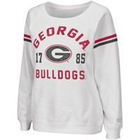 Georgia Bulldogs Womens Tailgate Boatneck Sweatshirt - White