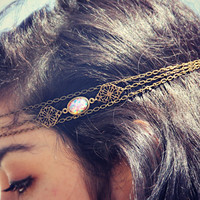 pink opal filigree head chain, chain headband, pink opal headband, metal headband, unique headband