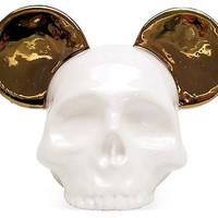 Ceramic Skull Gold Mouse Ear