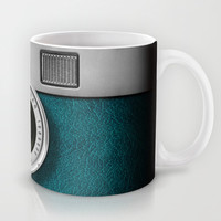 classic retro Blue teal silver Leica M9 Leather camera iPhone 4 4s 5 5c, ipod, ipad case Mug by Three Second