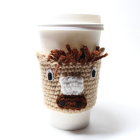 Horse Coffee Cozy, Crochet Coffee Sleeve, Animal Can Koozie, Travel Mug Cup Holder, Drink Sleeve, Year of the Horse
