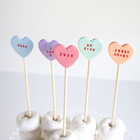 Conversation Heart Clay Cake Toppers – Set of 5