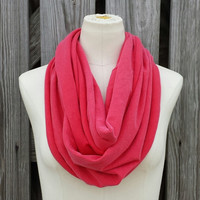 Pink Poppy Infinity Scarf - The Grande All Season Poppy Red Eternity Scarf - Cheerful Poppy Red Pink - Super Cozy