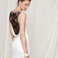 ideeli | CASUAL COUTURE Lace Back Side Cinched Dress