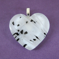 White Fused Glass Heart Pendant Slide, Black & White Accents - Sugar - Jewelry by mysassyglass