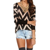Tan/Black Chevron Dolman Sleeve