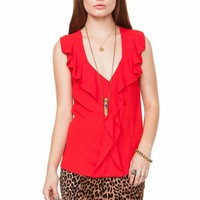Rouge Ruffles Sleeveless Blouse