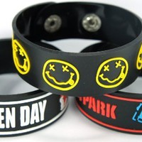 Green Day And Linkin Park And Nirvana New 3Pcs(3X) Bracelet Wristband 3W88 Mix American Idiot