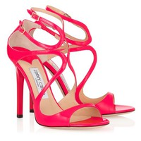 Fuchsia Neon Patent Sandals | Strappy Sandals | Lance | JIMMY CHOO Shoes