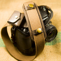 Handmade Camera strap with Shoulder Pad and Memory Card / Roll Film Bag