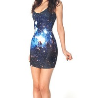 Blue Galaxy Print Slim Fit Spandex Tank Mini Dress