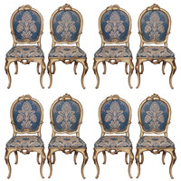 SET OF EIGHT PARCE GILT/PAINT 18th C VENETIAN SIDE CHAIRS