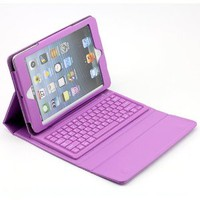 SUPERNIGHT Apple iPad Mini Tablet Case Cover ,with Built-in QWERTY Wireless Bluetooth Keyboard .Color :Purple