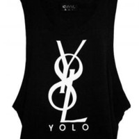 Black Sleeveless Top - YOLO Unisex Sleeveless Black Tank | UsTrendy