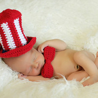 Cochet Uncle Sam Hat and Tie Custom Order by MySweetPotato3
