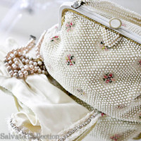 White Bridal Lumered Corde Beaded Handbag // by SalvatoCollection