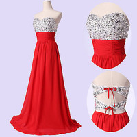 XMAS SALE RED Sexy Beads Formal Evening Dress Prom Party Bridesmaid Wedding Gown