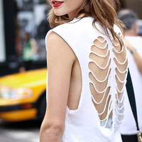 Rib Cage Cut Out Tank Top - T Shirt