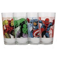 Marvel Superheroes Pint Glass Set ~ Spiderman, Captian America, Iron Man, and The Incredible Hulk
