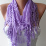 Purple and Trendy Shawl / Scarf with Lace Edge by SwedishShop