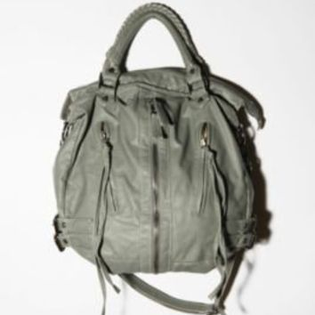 Zip-Front Moto Hobo Bag