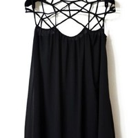 Sheinside Women's Black Girl Cut Out Shift Chiffon Mini Dress