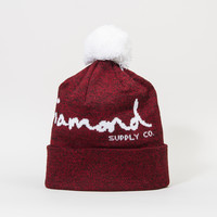 OG Script Pom Beanie in Burgundy/White