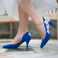 Wedding Shoes - Cobalt Blue Bridal Shoes, Wedding Heels with Ivory Lace. US Size 10