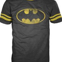 Mens DC Comics Batman Football-style T-shirt (Black)