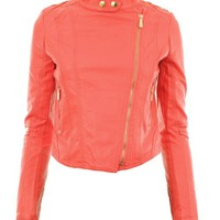 Gracious Girl Women's Diana Faux Leather Biker CropJacket Coral 10