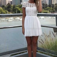 SPLENDED ANGEL DRESS , DRESSES, TOPS, BOTTOMS, JACKETS & JUMPERS, ACCESSORIES, 50% OFF SALE, PRE ORDER, NEW ARRIVALS, PLAYSUIT, COLOUR, GIFT VOUCHER,,White,LACE,SHORT SLEEVE,MINI Australia, Queensland, Brisbane