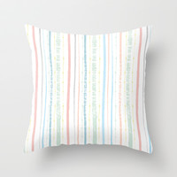 Sorbet Stripe Watercolor Pattern Throw Pillow by Two if by Sea Studios