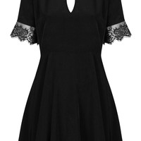 **TEA DRESS WITH KEY HOLE AND LACE TRIM BY OH MY LOVE