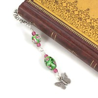 Pink Green Lampwork Beads Butterfly Charm Wirewrapped Pewter Bookmark