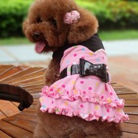 Cute Audrey Hepburn Dogs Costumes Dress Skirt for Shop Pet Clothes SIZE 12-Color Pink