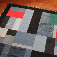 Denim Christmas Quilt Throw Black Red Forest Green Cotton Santa Claus Teddy Bears Angels Upcycled Blue Jeans 50x70 -US Shipping Included