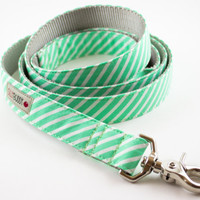 Bright Mint Stripes Dog Leash