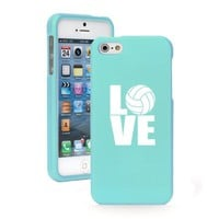 Apple iPhone 5c CH574 Light Blue Rubber Hard Case Snap on 2 Piece Love Volleyball