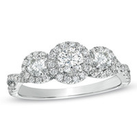 1 CT. T.W. Diamond Past Present Future® Ring in 14K White Gold
