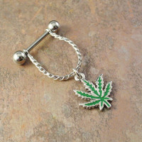 Pot Leaf Nipple Ring Jewelry Barbell 316L 14ga Piercing Marajuana Leaf