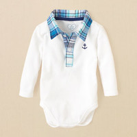 newborn - boys - plaid collar bodysuit | Children's Clothing | Kids Clothes | The Children's Place