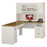 Bush Fairview L-Shaped Computer Desk and Hutch - White