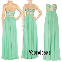 Sweetheart A-line Green Chiffon Sleeveless Long Prom Dress / Homecoming Dress With Sequins, Beads