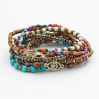 Mudd® Gold Tone Simulated Crystal Evil Eye & Hamsa Link Bead Stretch Bracelet Set