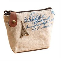 Retro Chic European Paris Canvas Coin Purse
