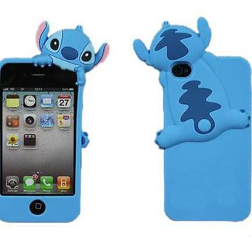YBG Blue Disney Stitch Hide and Seek Silicone Case Cover for Iphone 4 4s 4g + Gift 1pcs Phone Radiation Protection Sticker